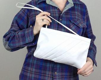 White Leather Purse - Vintage 80s Clutch Evening Bag