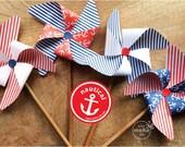 nautical party decorations nautical birthday decorations nautical baby shower boy nautical party favors nautical 1st birthday boy pinwheels