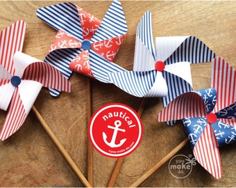 nautical party decorations nautical birthday decorations nautical baby shower boy nautical party favors nautical 1st birthday boy pinwheels