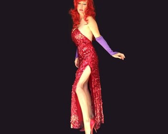 Deluxe Jessica Rabbit Costume. OOAK Sequined gown. Size M/L