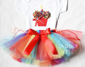 Sale - CARNIVAL PARTY Birthday Girl Set - 3D Cupcake Onesie and Tutu Skirt - 1st 2nd 3rd 4th 5th Birthday