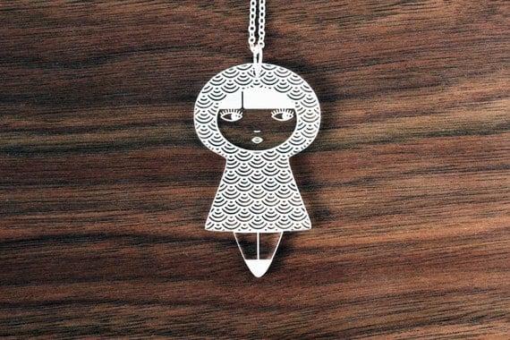 Doll necklace with Seikaiha pattern - graphic matriochka pendant - kokeshi jewelry - lasercut clear acrylic - perspex jewellery