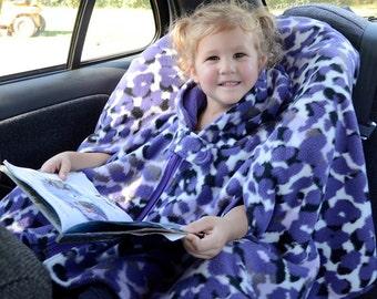 Car Seat Poncho - Custom Made Fleece Poncho with Two-way Zipper - Carseat Poncho - Babywearing - Kids Poncho - 12mo, 2T, 3T, 4T, 6, 8