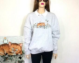 Kitten Sweater 80's Sweater 80's CAT Sweater Cat Sweater Birds Oversized Sweater Hipster Sweater Slouchy Vintage Sweatshirt Extra Large
