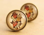 Sailor Jerry Cufflinks - Mens Nautical Rockabilly True Love Forever Cuff Links Vintage Valentines Groom Wedding