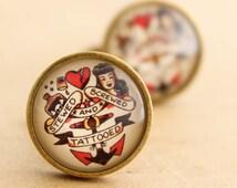 Sailor Jerry Cufflinks - Mens Nautical Rockabilly Stewed, Screwed & Tattooed Cuff Links Vintage Valentines Groom Weddings