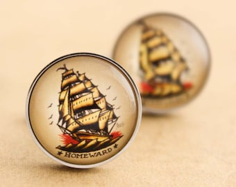 Sailor Jerry Cufflinks - Stainless Steel Mens Nautical Ship Cuff Links Vintage Rockabilly Silver