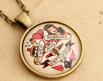 Sailor Jerry Necklace -  Sale Rockabilly Screwed Stewed & Tattooed Pin-up Girl Cabochon Pendant