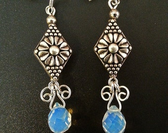 Silver Plated Dangle Earrings With Opalescent Faceted Beads