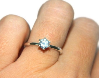 Promise Ring, Sterling Silver Purity Ring, Half Carat Solitaire Ring, Preengagement Ring