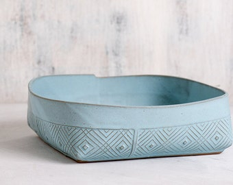 Ceramic Bowl, Blue Serving bowl, Fruit Bowl, light blue Decorative Bowl, Geometric Pattern Salad Bowl, Modern Pottery, Ceramic Dinnerware