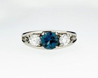 London blue topaz and diamond filigree ring, teal topaz ring, white gold, yellow gold, topaz trinity ring, blue topaz engagement