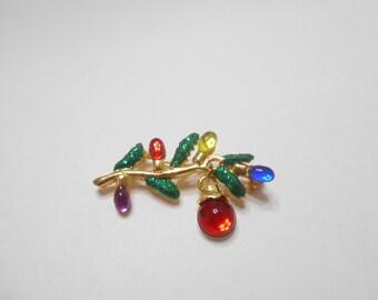 Vintage Danecraft Christmas Tree Branch Brooch With Ornaments (8927)