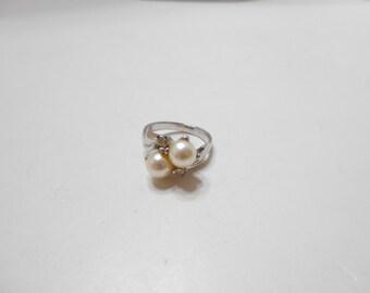 Vintage Faux Pearls & Rhinestones Ring (5104BP) Size 7