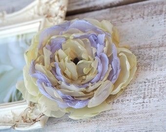 Yellow Flower Clip, Purple Yellow Hair Flower, Light Yellow Hair Accessory, Yellow Hair Flower, Floral Headpiece, Light Yellow Hair Clip