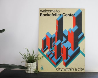 Welcome to Rockefeller Center city within a city NYC typographic poster signage collectible sign modular mid mod mid century helvetica font