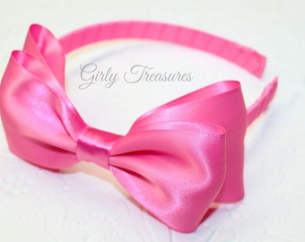 Hot Pink Satin Bow Headband. Snow White Headband. Baby Headband. Girl Headband. Women Headband.