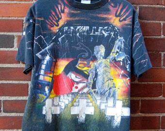 1991 All Over Print Metallic Band T-Shirt