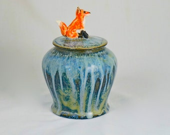 Handmade Stoneware Lidded Storage Jar with Red Fox knob, hand thrown stoneware pottery, home decor, pet urn, housewares, Animal Totem