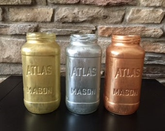 Gold Metalic Mason Jar Vase, Baby Shower Mason Jars, Nursery Decor, Home Decor, Office Decor, Bathroom Decor, Hand Painted Mason Jar