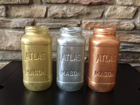 Copper Metalic Mason Jar Vase, Baby Shower Mason Jars, Nursery Decor, Home Decor, Office Decor, Bathroom Decor, Hand Painted Mason Jar