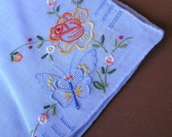 Vintage Butterfly Hanky . Embroidery & Openwork Handkerchief . Bride's Something Blue . Pastel Blue Hanky . Wedding Hanky