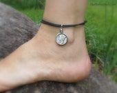 Mercury Dime Anklet,  Liberty Head jewelry, coin anklet, lucky charms, Winged Liberty coin, anklet, silver (Style no. A701)