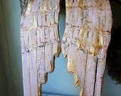 Wooden angel wings wall hanging pink w/ gold wood metal shabby cottage chic rusty distressed cherub wing set home decor anita spero design