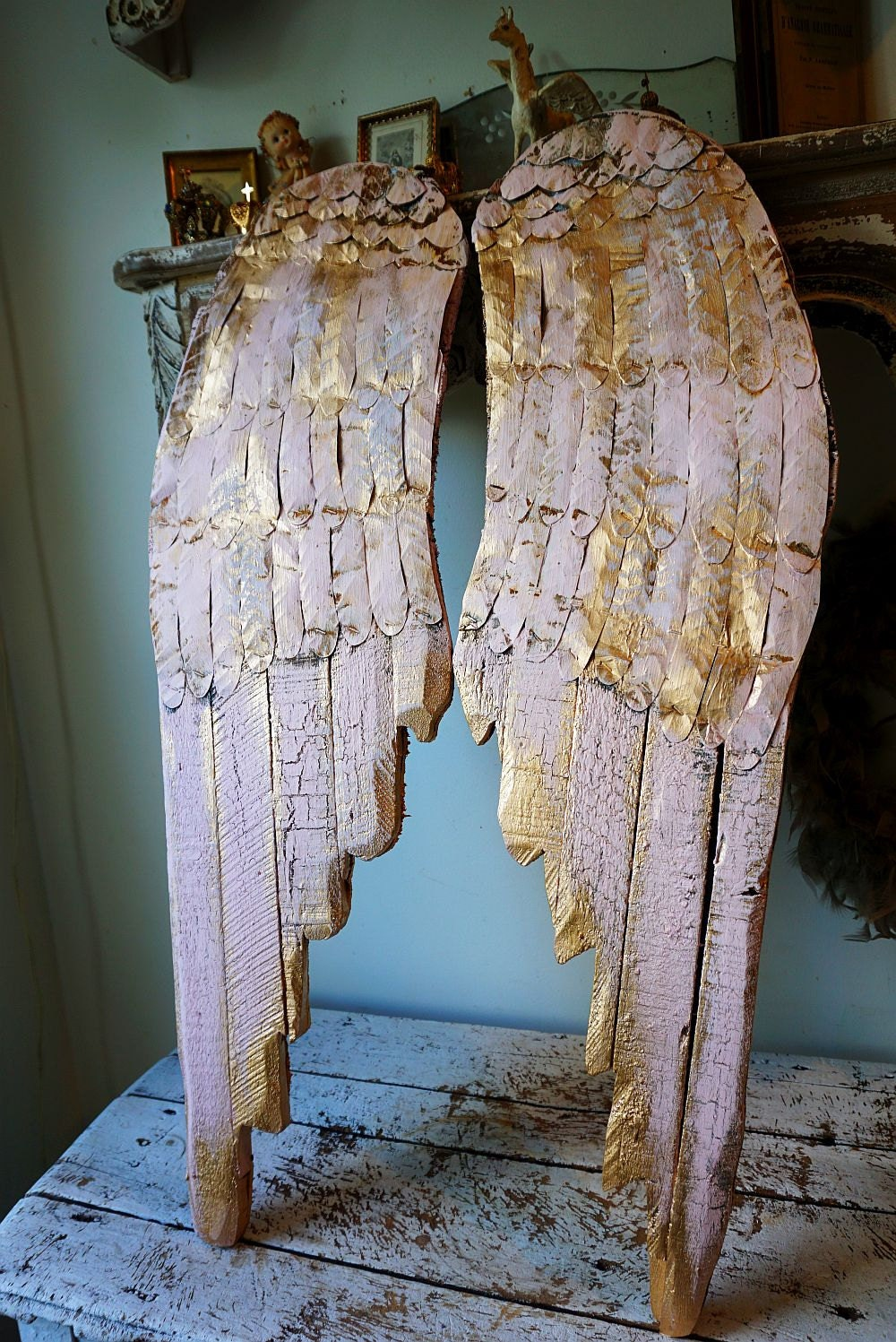 Wooden Angel Wings Wall Hanging Pink W Gold Wood Metal Shabby