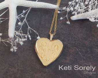 14K Gold Filled Heart Locket With Hand Engraved Monogram Initials - Engrave Message or Date On the Back - Photo Locket