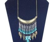 Bohemian Turquoise fringe statement necklace / Seed bead Feather necklace / Boho Jewelry