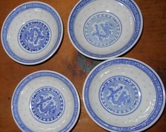 Vintage kimchi bowls, Set of 4 Chinese Dragon Rice Pattern condiment kimchi serving bowls Free USA Shipping