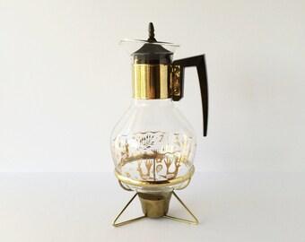 Vintage Mid Century Modern Glass Coffee Carafe With Warming Stand Bird Fish Leaves Motif, Atomic Coffee Pot, Retro Coffee Carafe