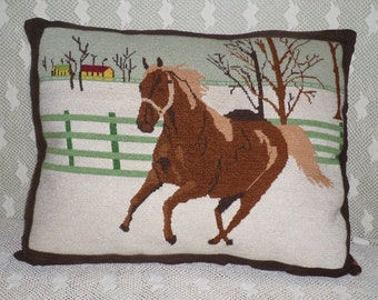 Magnificent Vintage Needlepoint Horse Pillow, Bordered and Backed with Leather!