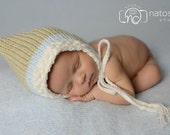 Newborn Photo Prop, Baby Boy Bonnet, Baby Boy Hat, Baby Bonnet, Baby Boy Knit Hat, Classic Baby Bonnet,Baby Boy,Tan and Blue Bonnet Baby Boy
