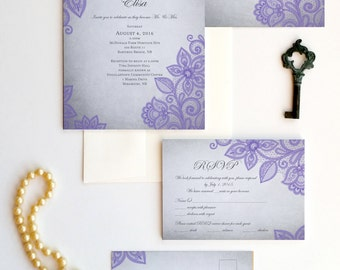 LACE WEDDING INVITATION set - purple lace customizable in color - Lindsay design {purple and grey version}