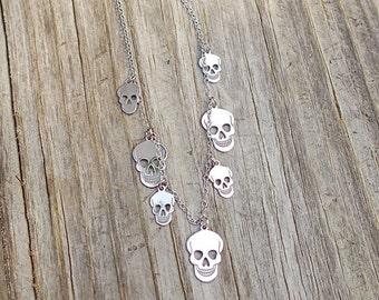 Cute Vintage 925 Sterling Silver Dangling Skull Necklace