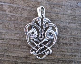 Vintage 925 Sterling Silver Entwined Celtic Crane Pendant