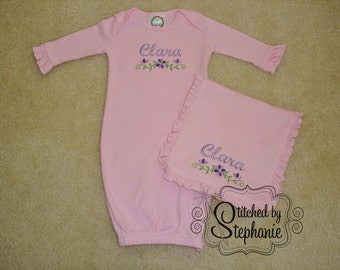 Custom personalized monogrammed name with purple floral border pink baby girl gown with ruffled sleeves set with burp cloth