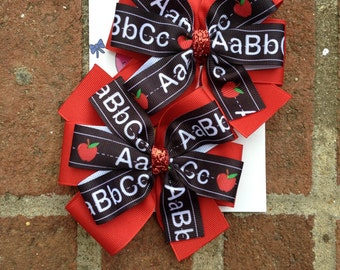 Back to School ABC Pigtail Hair Bows