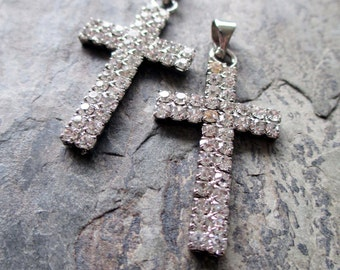 rhinestone cross pendants or large charms silver toned rosary jewelry supply catholic religious vintage style, 1 pair