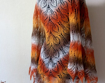 Lace shawl - Hand Knit wool  shawl -  fall colors