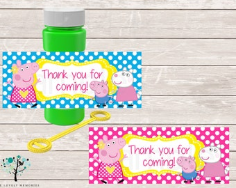 Peppa Pig Birthday Party Printable Party Bubble Labels- DIY File