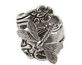 Dragonfly Spoon Ring, Silver Spoon Ring, Dragonfly Thumb Ring, spoon jewelry, spoon rings