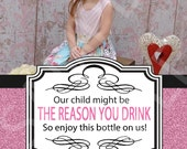 The Reason You Drink Wine Label - Teacher Appreciation - This One's on us - Teacher Wine Label - Digital