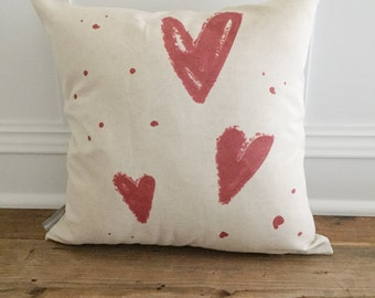 Hand Drawn Hearts Pillow Cover
