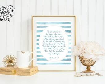 INSTANT DOWNLOAD, Scripture Art, Psalm 1:1-2 Printable, No. 615