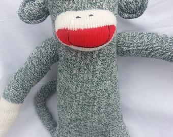 Original Sock Monkey Green Rockford Red Heel Soft Doll Handmade