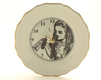 Altered Wall Clock Alice in Wonderland Bottle Plate Porcelain Bronze Hands Gold Rim Decor Vintage White Brown