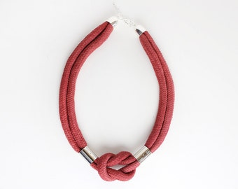 Marsala & Silver - Knotted cord necklace in electric blue with beads